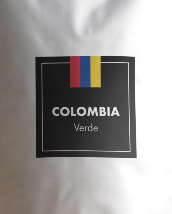 Etiqueta Café verde de Colombia en grano