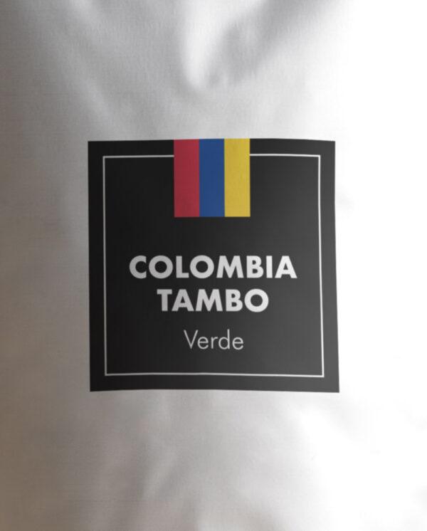 Etiqueta Café verde de Colombia Tambo en grano