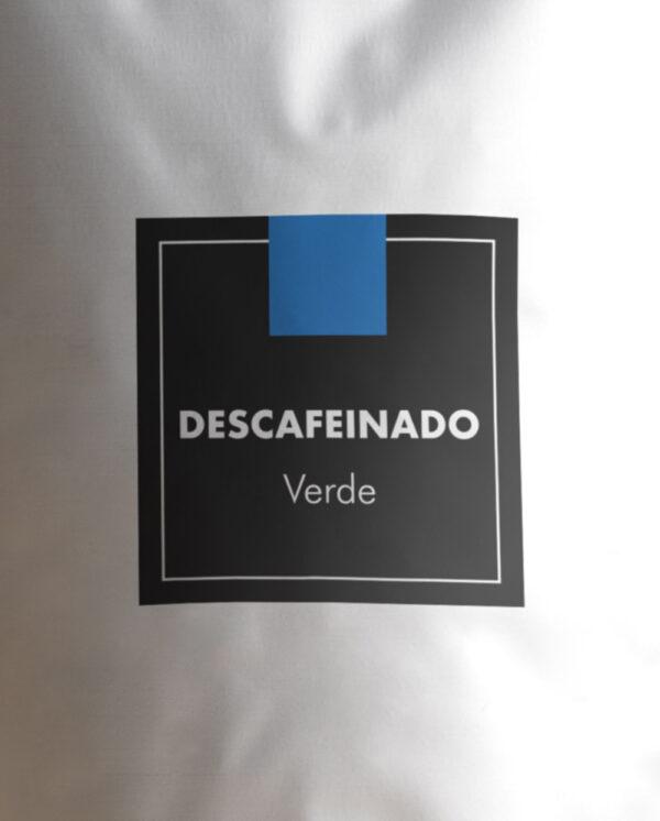 café verde descafeinado en grano etiqueta
