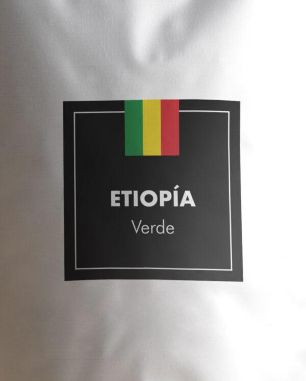 Etiqueta Café verde de Etiopía en grano