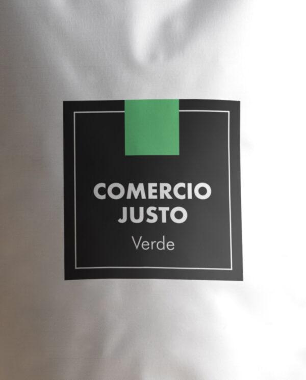café verde de comercio justo etiqueta
