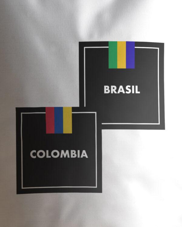 Café Blend Colombia Brasil Etiqueta