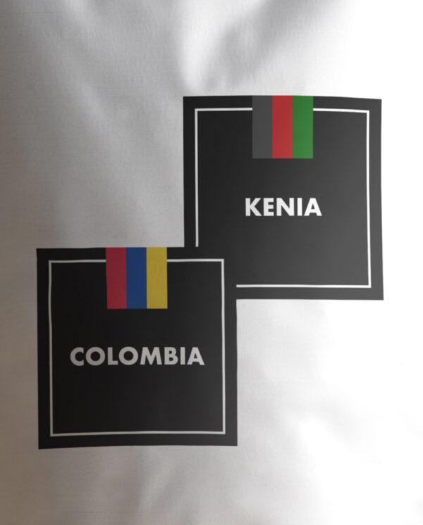 Café Blend Colombia Kenia Etiqueta