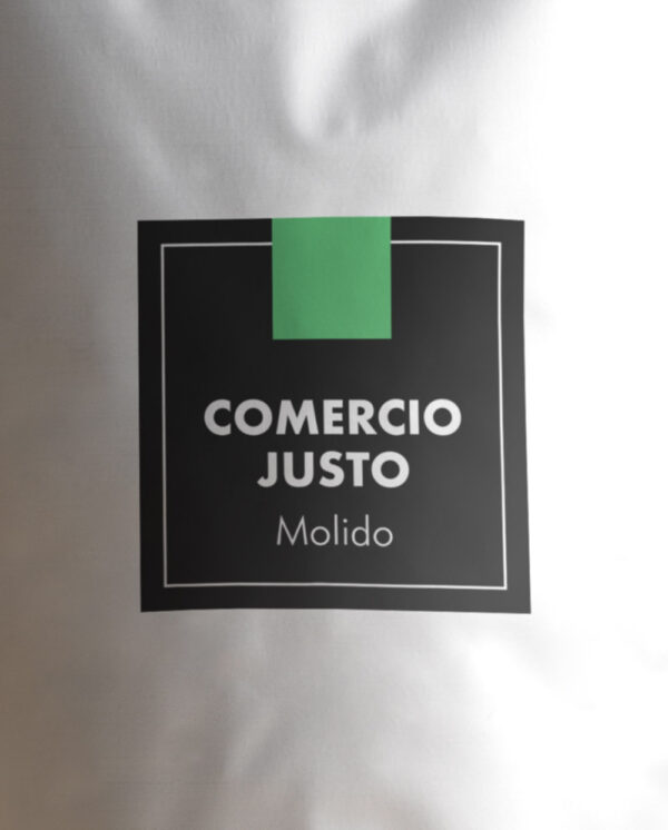 café de comercio justo etiqueta molido